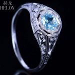 HELON 4.5mm Round Cut Sky Blue Topaz Vintage Style Gemstone Fine Ring Solid 10K White Gold <b>Art</b> <b>Deco</b> Women's <b>Jewelry</b> Ring