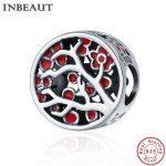 INBEAUT 100% Real 925 Sterling Silver Tree Beads Women <b>Antique</b> Red Flower Charm fit Pandora Bracelet Women Fine <b>Jewelry</b> Making