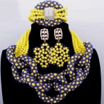 Beautifully Royal Blue And Yellow Crystal Beads Nigerian Wedding African Necklace Set 2018 Free Shipping <b>Jewelry</b> <b>Accessories</b>