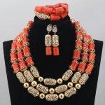 Luxurious African Orange Coral Beads <b>Jewelry</b> Sets Nigerian Wedding <b>Jewelry</b> Sets New Gold <b>Accessories</b> Bridal <b>Jewelry</b> Sets CJ765