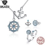 Genuine 100% 925 Sterling Silver Blue Anchor & Rudder Pendants & Necklaces <b>Jewelry</b> Sets Sterling Silver <b>Jewelry</b> <b>Accessories</b>