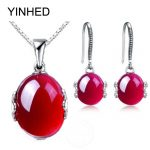 YINHED Luxury Created Rubis <b>Jewelry</b> Sets 925 Sterling Silver Pendant Necklace and Drop Earrings Set Bridal <b>Accessories</b> ZS058