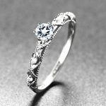 <b>Art</b> <b>Deco</b> Solid 10k White Gold Natural Diamond Engagement Wedding Ring Aquamarine for Women Fine <b>Jewelry</b> Anniversary Retro