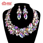 Fashion rhinestone AB color Wedding <b>Jewelry</b> Sets bridal Crystal necklace earrings set women Party marquise <b>Jewelry</b> <b>Accessories</b>