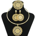 2018 Fashion Dubai Women Gold Coin Design African Bridal <b>Jewelry</b> Sets Gold Crystal Necklace Bracelet wedding <b>Jewelry</b> <b>Accessories</b>