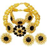 High Quality Luxury 24 Gold <b>Jewelry</b> Sets Black Crystal Necklace Bracelet Earrings for Women Charm Wedding <b>Jewelry</b> <b>Accessories</b>