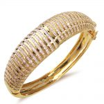 Top Quality Classic Cuff New Women Bridal <b>Accessories</b> Channel setting Cubic Zirconia Brass <b>jewelry</b> Gold-color Statement Bangle