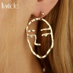 Lvytide Abstract face earrings abstract pierced <b>art</b> <b>deco</b> Earrings for women Funky style <b>jewelry</b>