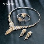 NEWBARK 4 Pieces Bridal <b>Jewelry</b> Sets Classic Rings/Necklace/Earrings/Bracelet Women Fashion Copper CZ Wedding <b>Accessories</b> Sets