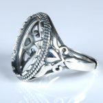 <b>Art</b> <b>Deco</b> Real 925 Sterling Silver Engagement Wedding Semi Mount Ring for 12x16mm Oval Cabochon Wholesale <b>Jewelry</b> Setting