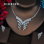 HIBRIDE Luxury Marquise Cut Cubic Zirconia <b>Jewelry</b> Sets For Women Bride Necklace Set Wedding Dress <b>Accessories</b> Wholesale N-393