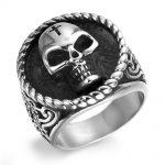 Titanium Stainless Steel Man Ring Skull <b>Antique</b> Silver Punk Rock Hip Hop Biker Band Male Signet Vintage <b>Jewelry</b> QMHJE DAR311
