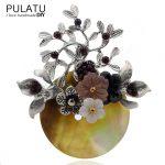 PULATU Original Handmade Bunch Silver Brooches Natural Stone Brooch Pins Fashion <b>Jewelry</b> Pendant Women Coat Scarf <b>Accessories</b>