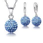YAAMELI 925 Silver <b>Jewelry</b> Sets Rhinstone Ball Pendant Necklace+Earrings <b>Jewelry</b> Set For Women Gift Wedding <b>Accessories</b>