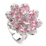 SHUNXUNZE Pink Cubic Zirconia Cute Flower wedding rings <b>Jewelry</b> & <b>Accessories</b> for men and women Rhodium Plated R549 size 6 7 8 9