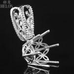 HELON 14-15mm Round Cut solid 10K White Gold Pendant Vintage Filigree Antique Semi Mount Pendant <b>Art</b> <b>Deco</b> fine <b>jewelry</b> women
