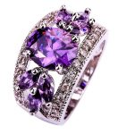 <b>Art</b> <b>Deco</b> Fancy Oval Cut Purple Hollow Round Silver Color Ring Size 6 New Fashion <b>Jewelry</b> Gift For Women Wholesale