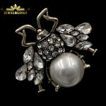 <b>Antique</b> Statement White Imitated Pearl Honey Bee Brooches Silver Tone Micro Pave Clear Crystal Bubble Bee Pins Insect <b>Jewelry</b>