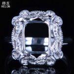 Filigree Real 925 sterling silver 8x9mm emerald Vintage Antique <b>Jewelry</b> semi mount ring setting <b>Art</b> <b>Deco</b> Engagement Wedding Ring