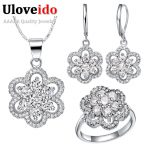 Uloveido Fashion Flower Wedding <b>Accessories</b> Purple China Rhinestone Bridal Jewerly Sets for Women Silver Color <b>Jewelry</b> Set T490