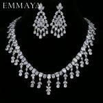 EMMAYA Femme Bijoux AAA CZ Earrings Necklace <b>Jewelry</b> Sets for Women Wedding Party Fashion Jewellery <b>Accessory</b>