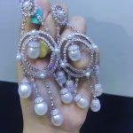 natural fresh water pearl dangle earring 925 <b>sterling</b> <b>silver</b> with cubic zircon multi layers tear drop shape fashion <b>jewelry</b>