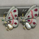Baroque Natural fresh water Pearl brooch butterfly brooch pins 925 <b>sterling</b> <b>silver</b> with cubic zircon women <b>jewelry</b>