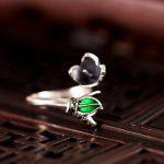 Cloisonne Enamel 925 Sterling Silver 7mm Pear Semi Mount Wedding Ring <b>Art</b> <b>Deco</b> Fine <b>Jewelry</b> Setting