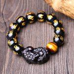 Natural Obsidian Stone Bracelet Om Mani Padme Hum Beads Brave Troops (Pi Xiu) Tiger Eye Stone Lucky <b>Jewelry</b> <b>Accessories</b>