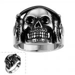 HERMOSA <b>Jewelry</b> New Men's Big Skeleton shape Party <b>accessories</b> Black Onyx stainless steel Ring Size 8,9 ,10,11 GMYR085