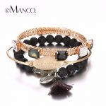 e-Manco Trendy Simple Multilayers Bracelet & Bangle for Women Cute Tassel Charms Crystal Letter Bangle <b>Accessories</b> <b>Jewelry</b>