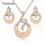 Nandudu New Austrian Crystal Wire Mesh Pendant Necklace Stud Earrings <b>Jewelry</b> Sets for Women Girl Gift <b>Accessories</b> CN288