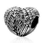 <b>Antique</b> Tone Feather Wings Heart-shaped Authentic 925 Sterling Silver European Charm Beads <b>Jewelry</b> Findings SAPB3133