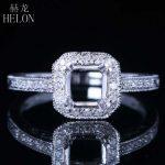 HELON 6mm Round Semi Mount Engagement Diamonds Ring Solid 14k White Gold Vintage <b>Art</b> <b>Deco</b> Style Wedding Ring Fine <b>Jewelry</b> Women