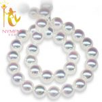 NYMPH Pearl <b>Jewelry</b> Natural Freshwater Pearl Necklace 8-9mm Round Collar Beads Stone Gift With Box Wedding Party For Women