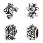 <b>Antique</b> 925 Sterling Silver Flowers Charms Beads Fit European Original Brand Troll Bracelet <b>Jewelry</b>