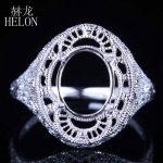 HELON Oval Cut 10X8mm Solid 10k White Gold Semi Mount Setting Engagement Wedding Ring Solitaire <b>Art</b> <b>Deco</b> Women's <b>Jewelry</b> Ring
