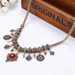 Fashion Bohemia Choker Necklace Femme Resin Stone Beads Tassel <b>Antique</b> Gold Collier Tribal Ethnic Boho Statement <b>Jewelry</b>