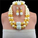 White Fashion African Wedding Gold 2 Rows Crystal Beads <b>Jewelry</b> Sets Necklace African <b>Accessory</b> Free Shipping
