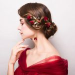 Red Wedding Bride Headdress Hairpin Clip <b>Jewelry</b> Set <b>Accessories</b> Flowers Ornaments New styles of Roses Goddes Style Barrettes
