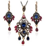 Sparkling Women Turkish Necklace Leaf <b>Jewelry</b> Sweater Pendant <b>Antique</b> Gold Blue Flower Rhinestone Drop Necklaces Ethnic Bijoux