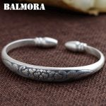 BALMORA 999 Pure Silver Flower Open Bangles for Women Mother Gift about 17cm Bracelet Silver <b>Jewelry</b> Pulsera <b>Accessories</b> SZ0283
