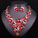 Fashion Red Crystal Necklace & Earrings <b>Jewelry</b> Sets Bridal Wedding Costume <b>Accessories</b> Party Jewellery Gift for Brides Women