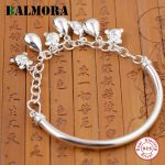 BALMORA Solid 925 Sterling Silver Water Drop Charms Bangles for Women Lover Gift Delicate Silver <b>Jewelry</b> <b>Accessories</b> SZ0100