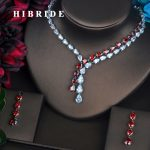 HIBRIDE Brilliant Red Water Drop Full Cubic Zirconia <b>Jewelry</b> Sets For Women Bride Necklace Set Wedding <b>Accessories</b> Gifts N-425