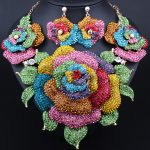 Luxury Crystal Bridal <b>Jewelry</b> Sets Exaggerated flower Statement Necklace and Earrings for Brides Wedding Party <b>Accessories</b>