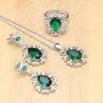 Hyperbole 925 silver <b>Jewelry</b> Sets Green Zircon White Stone For Women Party <b>Accessories</b> Earrings/Pendant/Necklace/Ring