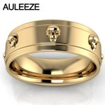 Halloween Skull Ring Pure Gold Solid 10K Yellow Gold Engagement Ring Fashion <b>Art</b> <b>Deco</b> Wedding Band For Lovers' Ring Fine <b>Jewelry</b>