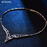 BUDONG Trendy Wedding <b>Jewelry</b> Pendant&Necklace Women Birthday Gift Silver/Gold Color AAA+ Chain Cubic Zirconia <b>Accessory</b> XUP807