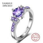 Real 925 Silver Ring Purple Crystal <b>Jewelry</b> CZ Diamant Engagement Bague Bijoux Luxury <b>Accessories</b> Wedding Rings For Women JZ031